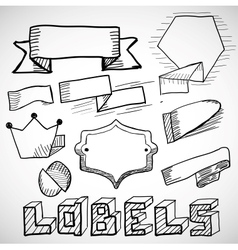 Hand drawn labels and design elements doodles vector image