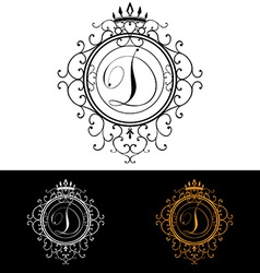 Letter D Luxury Logo template flourishes vector image