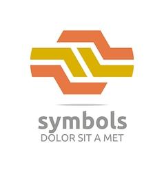 Logo design hexagon zigzag orange icon symbol vector