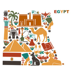 Map of egypt made of national symbols vector