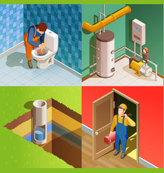 Plumber 4 colorful isometric icons square vector