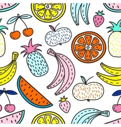 Seamless pattern of fruits summer mood vector