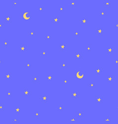 Seamless pattern with stars and moon good night vector