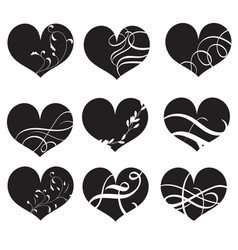 set of black hearts with flourish hand vector image
