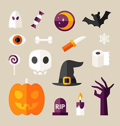 Set of Halloween and Decorative Elements Pumpkin vector image