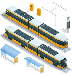 set of isometric passenger tram train streetcar vector image vector image