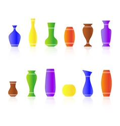 Set of silhouettes vases vector image