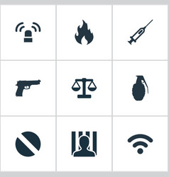 Set of simple crime icons vector