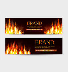 set with a burning fire on a dark vector image