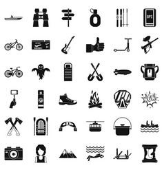 Sport adventure icons set simple style vector