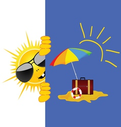 Sun and beach art vector