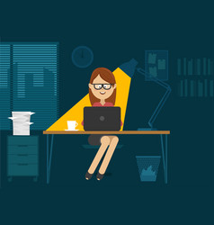 Young woman sitting at office desk at night vector