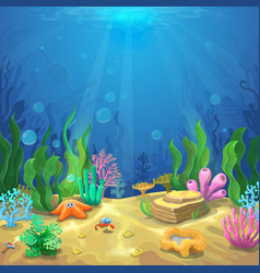Underwater landscape the ocean and the undersea vector