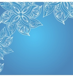 Blue background with floral ornament vector