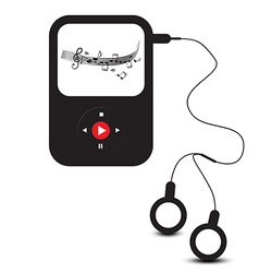 Mp3 player icon retro mp3 device with headphones vector