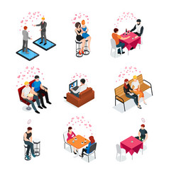 gay dating isometric compositions vector image