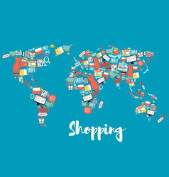 world map with shopping and sale icons vector image