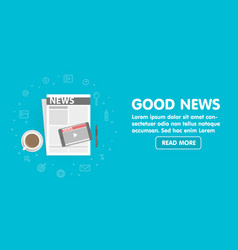 Newspaper and mobile phone with online video news vector