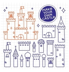 Make your own castle Hand drawn doodle tower vector image
