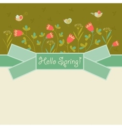 Bird and spring flowers vector image