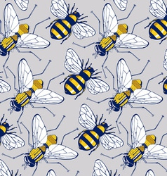 Bee fly background pattern vector
