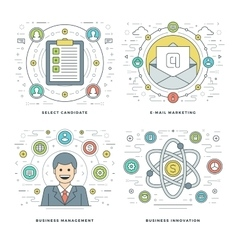 Flat line management employee search e-mail vector