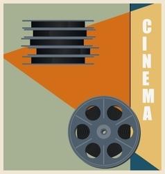 Retro bobbin with cinema film Vintage poster vector image