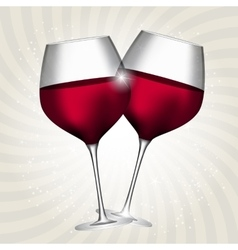 Full glass of red wine on swirl background vector