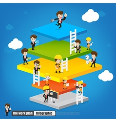 Work plan infographic with engineer businessman vector