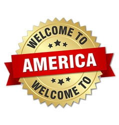 America 3d gold badge with red ribbon vector