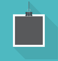 Blank photo frame with shadow hanging with paper vector
