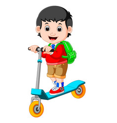 boy playing push bicycle vector image vector image