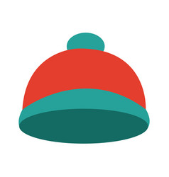 Bright winter knitted hat accessory with pompon vector