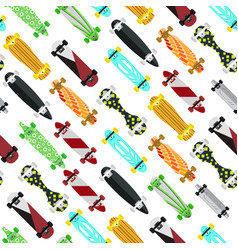 cartoon color skateboard background pattern vector image