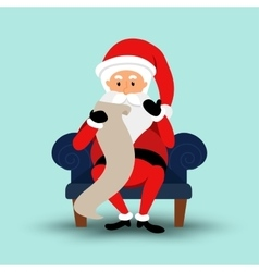 Cartoon santa claus sitting on a chair and read a vector