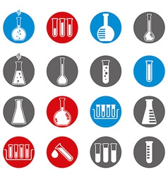 Chemical and medical flask icons set vector image vector image