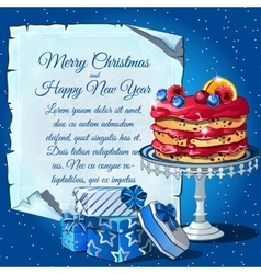 Christmas cake gift boxes and card for text vector