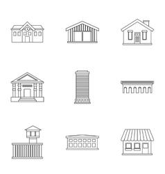 City public buildings icons set outline style vector