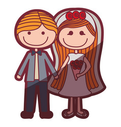Color silhouette shading cartoon couple in wedding vector