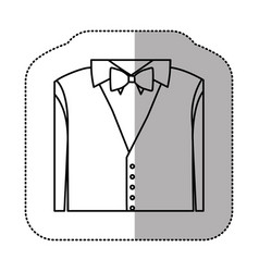 contour sticker shirt with bow tie and waistcoat vector image