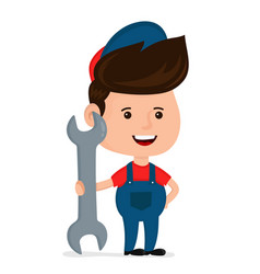cute happy smiling young service man vector image vector image