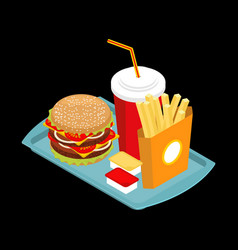 fast food on tray hamburger and drink french vector image