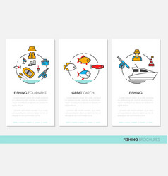 fishing business brochure template linear vector image