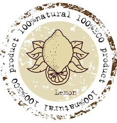 Grunge rubber stamp with lemon shape vector image vector image