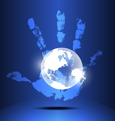 hand engulf the world vector image vector image