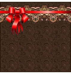 Holiday floral background with red ribbon EPS10 vector image