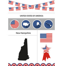 map of new hampshire set of flat design icons vector image
