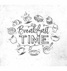Monogram breakfast time vector