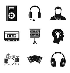 musical tour icons set simple style vector image
