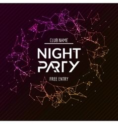 Night party poster shiny banner club disco dj vector